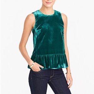 JCrew Green Velvet Peplum Top